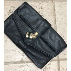 Also Black Clutch with Gold buckle